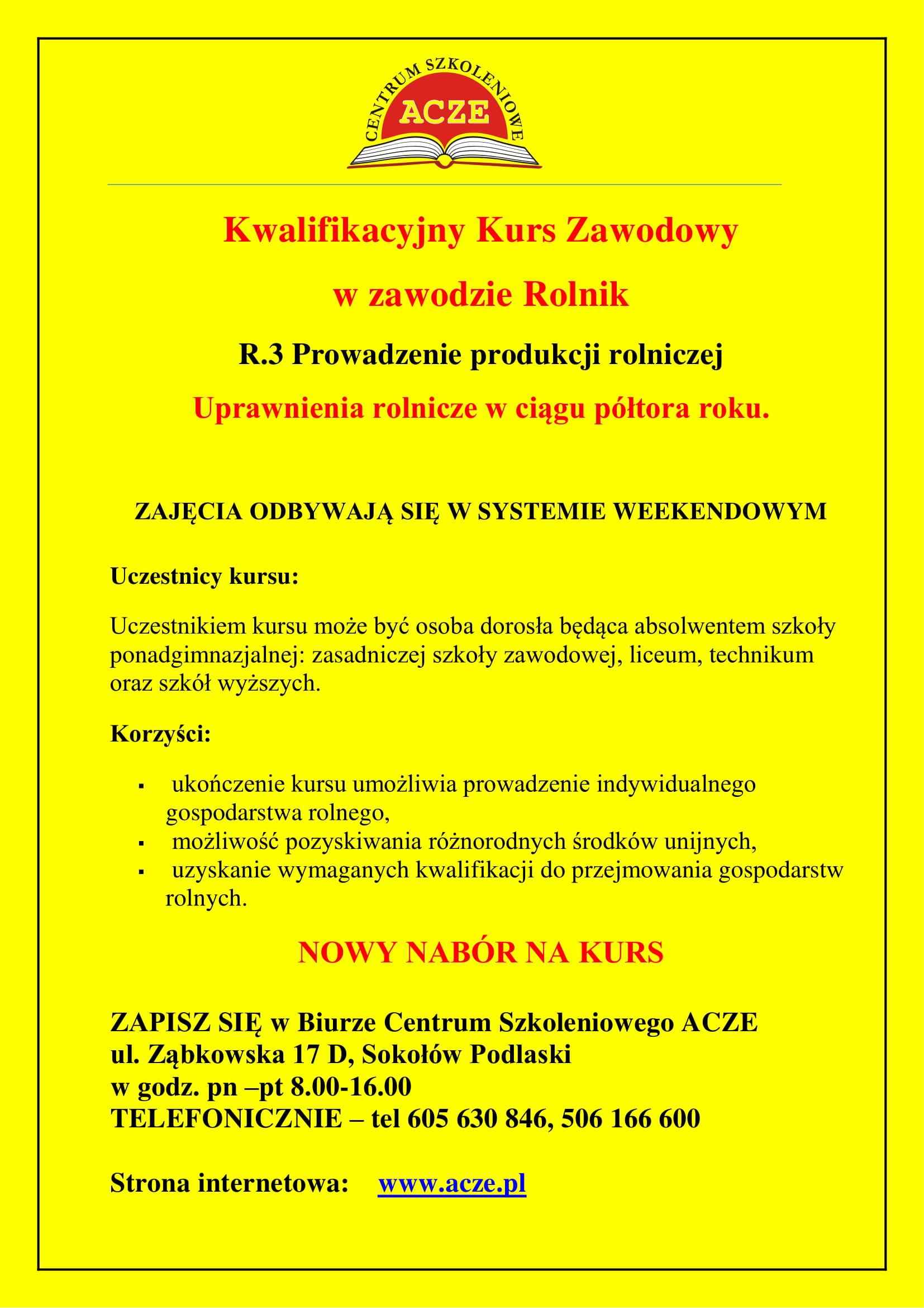 ULOTKA INFORMACYJNA KURS Rolnika 2-1